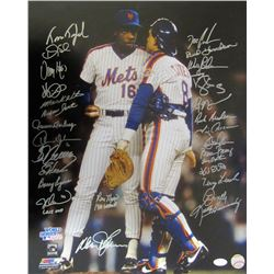 1986 Mets 16x20 Photo Team-Signed by (28) with Miike Wilson, Darryl Strawberry, Dwight Gooden, Ry Kn