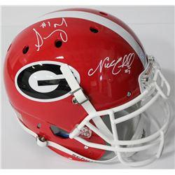 Nick Chubb  Sony Michel Signed Georgia Bulldogs Authentic On-Field Full-Size Helmet (JSA COA)