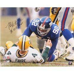 "Michael Strahan Signed Giants 16x20 Photo Inscribed ""SB XLII Champs"" (JSA COA)"