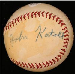 Jack Katoll Signed ONL Baseball (JSA COA)