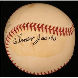 Elmer Jacobs Signed ONL Baseball (JSA COA)