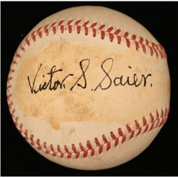 Vic Saier  Dutch Mele Signed ONL Baseball (JSA COA)