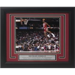 Michael Jordan Signed Bulls 11x14 Custom Framed Photo Display (TriStar Hologram)
