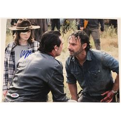 "Jeffrey Dean Morgan  Chandler Riggs Signed ""The Walking Dead"" 11x14 Photo (PSA COA)"