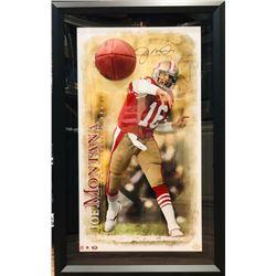"Joe Montana Signed 49ers ""Breaking Through"" 27.5x43.5 Custom Framed Photo Display (UDA COA)"