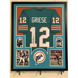 Bob Griese Signed Dolphins 34x42 Custom Framed Jersey Display (JSA COA)