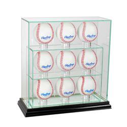 Premium 7-9 Baseball Upright Glass Display Case with Mirrored Black Wood Base (New)