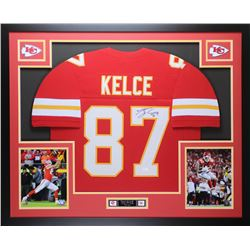 Travis Kelce Signed Chiefs 35x43 Custom Framed Jersey (JSA COA)