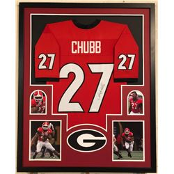 Nick Chubb Signed Georgia Bulldogs 34x42 Custom Framed Jersey (JSA COA)