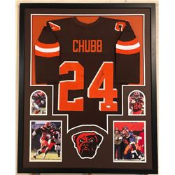 Nick Chubb Signed Browns 34x42 Custom Framed Jersey (JSA COA)
