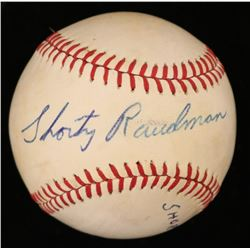 "Bob ""Shorty"" Raudman Signed OL Baseball (JSA COA)"