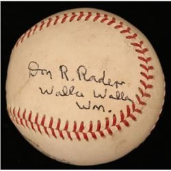 "Don Rader Signed ONL Baseball Inscribed ""Walla Walla Wm."" (JSA COA)"