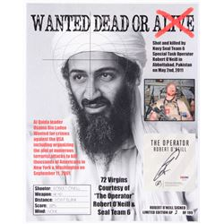 """Robert O'Neill Signed LE """"Bin Laden Wanted Dead or Alive"""" Cut On 13x16 Photo (PSA COA)"""