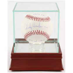 """Rickey Henderson Signed OML Baseball Inscribed """"1406 SB""""  """"Man of Steal"""" With High-Quality Display C"""