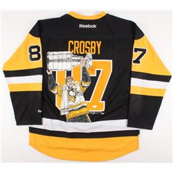 Sidney Crosby Signed Penguins Captain Jersey with Custom Hand-Painted 2017 Stanley Cup Champions Por