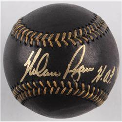 "Nolan Ryan Signed OML Black Leather Baseball Inscribed ""HOF 99"" (AI Verified COA  Ryan Hologram)"