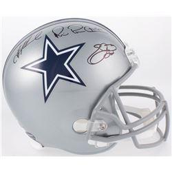 Emmitt Smith, Troy Aikman  Michael Irvin Signed Cowboys Full-Size Helmet (JSA COA  Beckett COA  PROV
