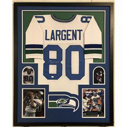 "Steve Largent Signed Seahawks 34x42 Custom Framed Jersey Inscribed ""HOF 95"" (JSA COA)"