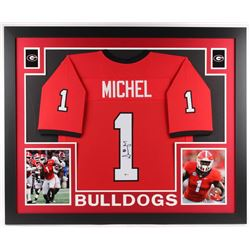 Sony Michel Signed Georgia Bulldogs 35x43 Custom Framed Jersey (Beckett COA)