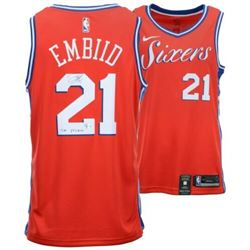 """Joel Embiid Signed 76ers Nike Red Statement Jersey inscribed """"The Process"""" (Fanatics Hologram)"""