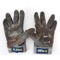 "Pair of (2) Aaron Judge Signed Game-Used Adidas Batting Gloves Inscribed ""GU 2018""  (Fanatics Hologr"