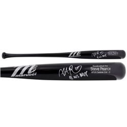 "Steve Pearce Signed Marucci Player Model SP28 Baseball Bat Inscribed ""18 WS MVP"" (Fanatics Hologram"