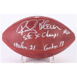 "Rocky Bleier Signed Official Super Bowl X Logo Football Inscribed ""SB X Champs""  ""Steelers 21 Cowboy"