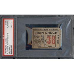 1922 Hilldale vs. Richmond Giants Negro League Baseball Ticket Stub (PSA Encapsulated)