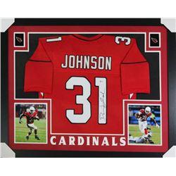 David Johnson Signed Cardinals 35x43 Custom Framed Jersey (Beckett COA)