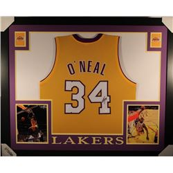 Shaquille O'Neal Signed Los Angeles Lakers 35x43 Custom Framed Jersey (JSA COA)