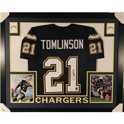 LaDainian Tomlinson Signed Los Angeles Chargers 35x43 Custom Framed Jersey (JSA COA  Tomlinson Holog