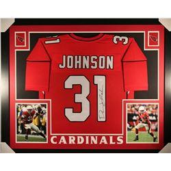 David Johnson Signed Arizona Cardinals 35x43 Custom Framed Jersey (JSA COA)