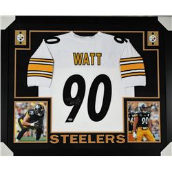 T. J. Watt Signed Pittsburgh Steelers 35x43 Custom Framed Jersey (PSA COA)