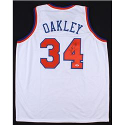 Charles Oakley Signed New York Knicks  Oak Tree Jersey (PSA COA)