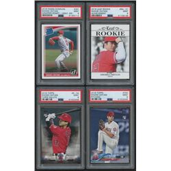 Lot of (4) PSA Graded 9 Shohei Ohtani Rookie Cards with 2018 Donruss #281A, 2018 Leaf Rookie Achieve