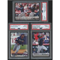 Lot of (3) PSA Graded 10 Ronald Acuna Baseball Cards with 2017 Bowman Draft #BD39, 2018 Topps Now #1