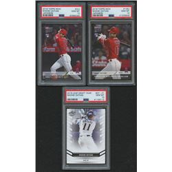 Lot of (3) PSA Graded 10 Shohei Ohtani Baseball Cards with 2018 Leaf Ohtani Draft Year #DY01, 2018 T