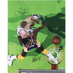 Magic Johnson  Larry Bird Signed 16x20 Photo (Beckett COA)
