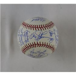 1986 Mets OML Baseball Team-Signed by (32) with Davey Johnson, Bud Harrelson, Jesse Orosco, Darryl S