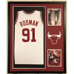 Dennis Rodman Signed Chicago Bulls 34x42 Custom Framed Jersey Display (Beckett COA)