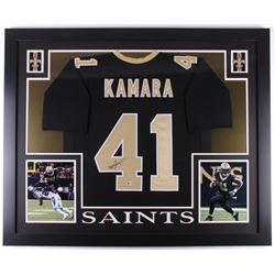 Alvin Kamara Signed New Orleans Saints 35x43 Custom Framed Jersey (Beckett COA)