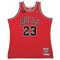 Michael Jordan Signed 1998 Mitchell  Ness Chicago Bulls NBA Finals Jersey (UDA COA)