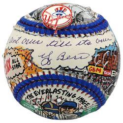 Yogi Berra Signed New York Yankees Baseball Hand-Painted by Charles Fazzino Inscribed  It Ain't Over