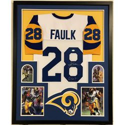 "Marshall Faulk Signed Los Angeles Rams 35x43 Custom Framed Jersey Inscribed ""G.S.O.T."" (JSA COA)"