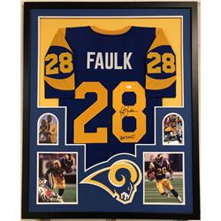 "Marshall Faulk Signed Los Angeles Rams 35x43 Custom Framed Jersey Inscribed ""HOF 20XI""(JSA COA)"