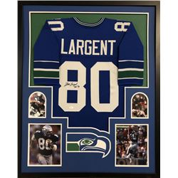 "Steve Largent Signed Seattle Seahawks 35x43 Custom Framed Jersey Inscribed ""HOF '95"" (JSA COA)"