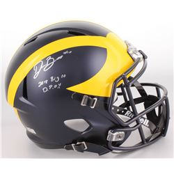 "Devin Bush Signed Michigan Wolverines Full-Size Helmet Inscribed ""2018 Big 10 DPOY"" (Radtke COA)"