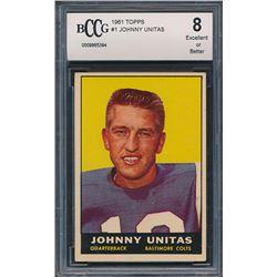 1961 Topps #1 Johnny Unitas (BCCG 8)