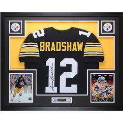 "Terry Bradshaw Signed Steelers 35"" x 43"" Custom Framed Jersey (JSA COA  Bradshaw Hologram)"