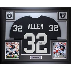 "Marcus Allen Signed Raiders 35"" x 43"" Custom Framed Jersey (JSA COA)"